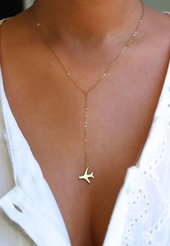 Airplane Lariat Necklace by Charmed Traveler