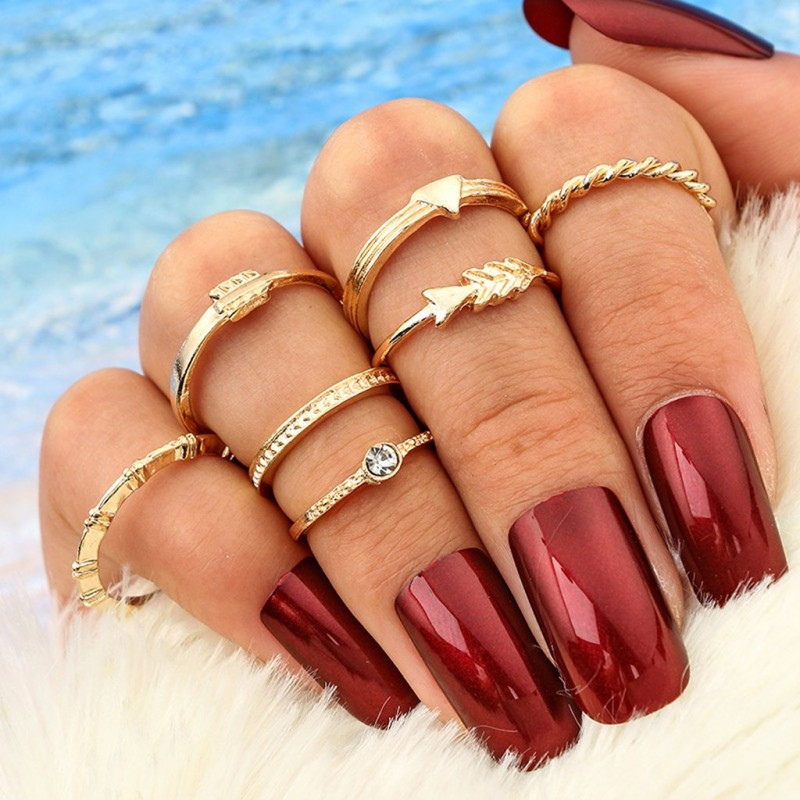 Alaina Cute Stackable Gold Arrow Midi Rings