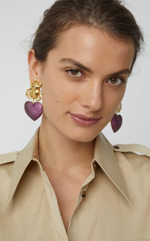 7d62585243517 Begum Khan Beetle My Love 24K Gold-Plated Crystal Earrings - Jewelry ...