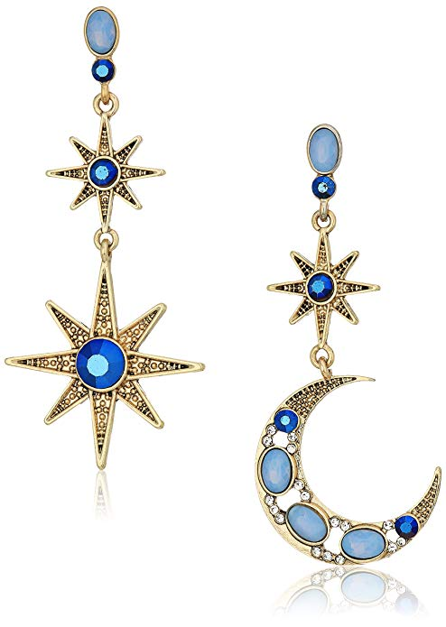 Betsey Johnson Womens Moon and Star Drop Earrings