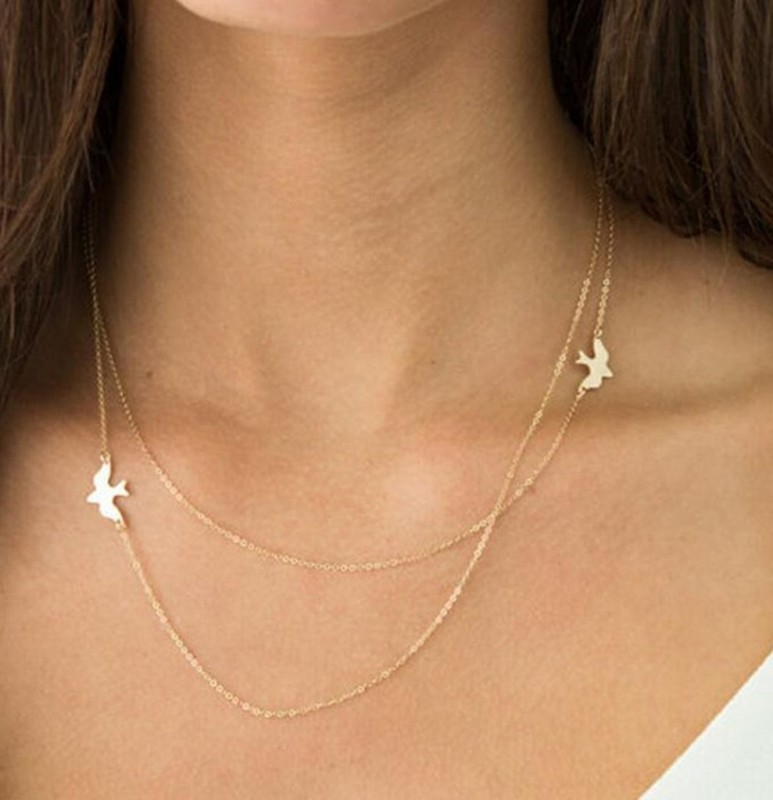 Everly Sparrow Bird Floating Layered Necklace