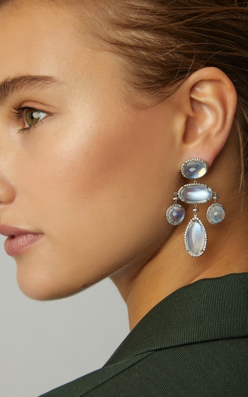 Fred Leighton One-Of-A-Kind Moonstone Girandole Earrings