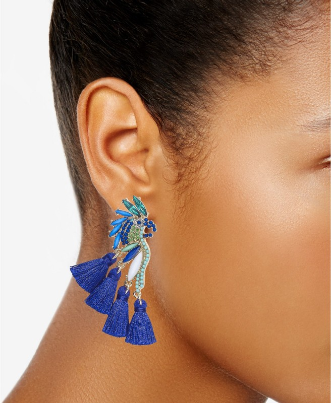 I.N.C. Gold-Tone Mixed-Metal Blue Bird Stud Earrings