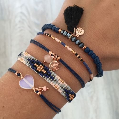 Royal Blue with Rosegold Bracelet Set