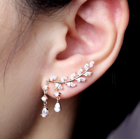 Siren Fancy Crystal Drop Leaf Ear Climber