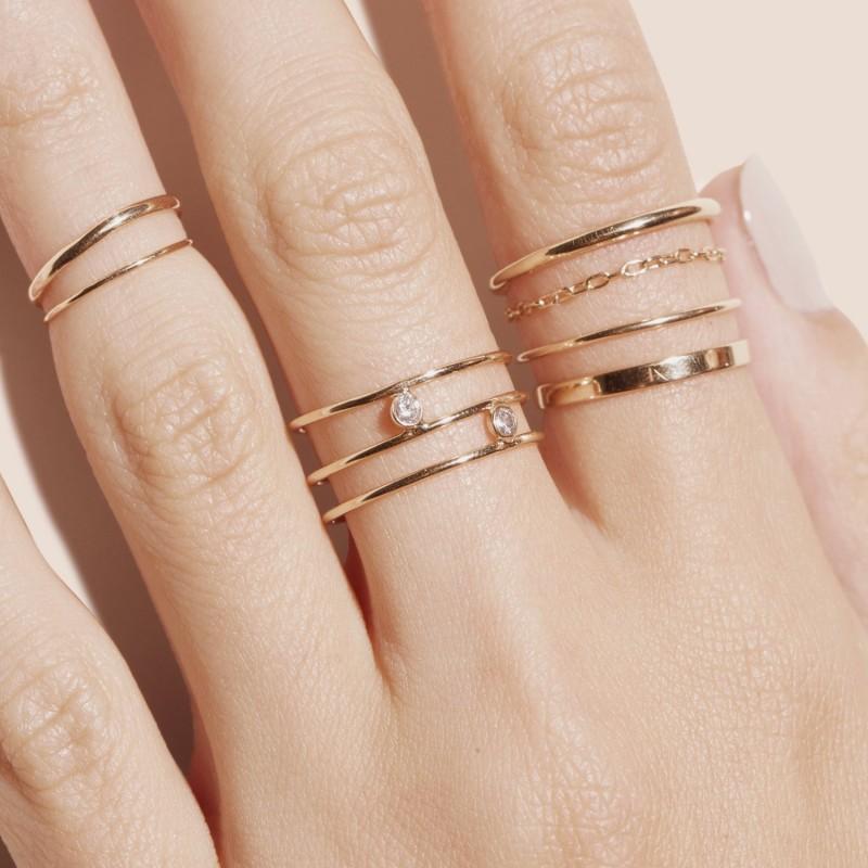 Slim Gold Round Band Ring