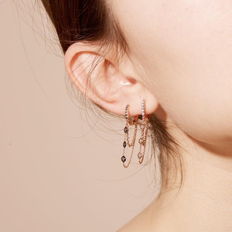 Three White Diamond Dangle Double Chain Hoop Earring