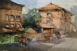 City Street Watercolor Painting By Nitin Singh