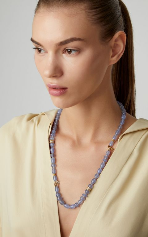 Mimi So 18K Gold, Chalcedony and Diamond Necklace