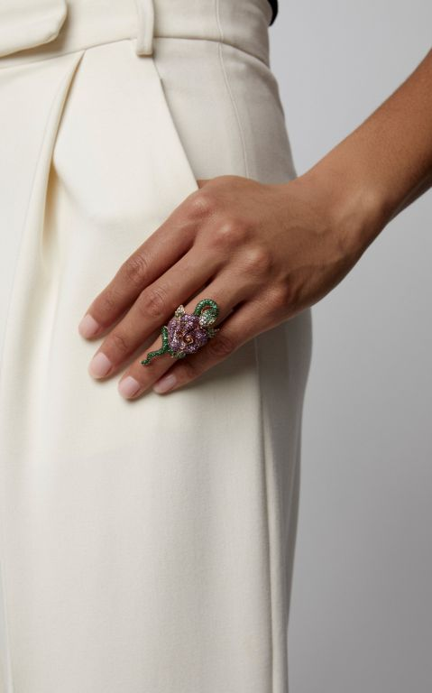Wendy Yue 18K Rose Gold, Tsavorite, Sapphire, Diamond And Ruby Ring