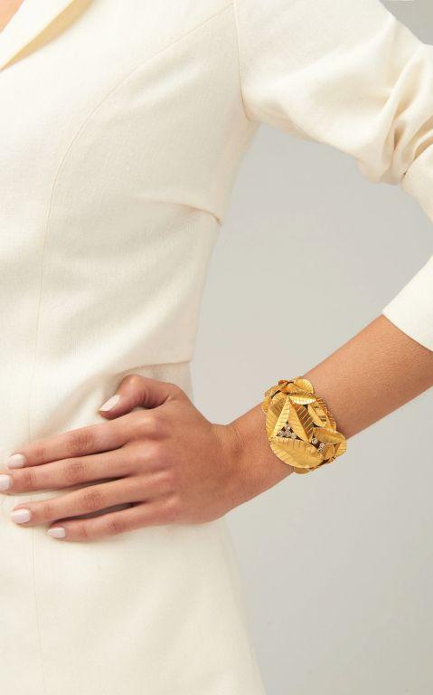 Ofira 18K Gold And Diamond Leaf Cuff
