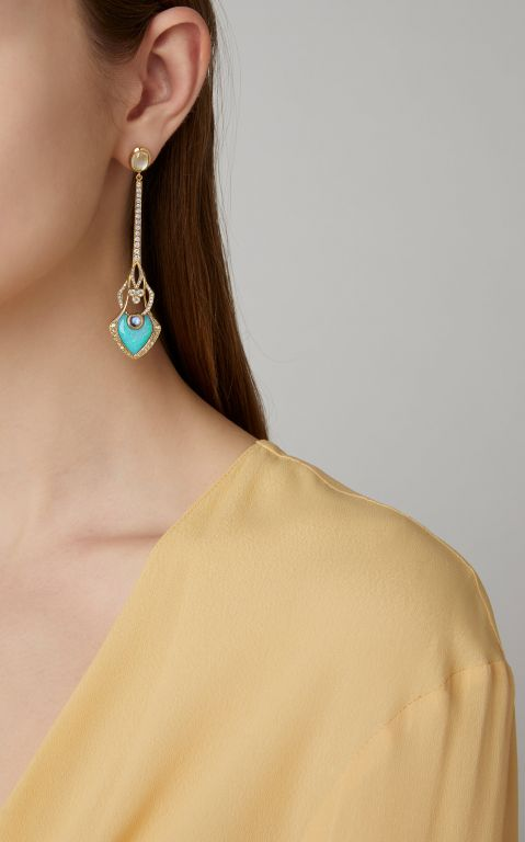ARK 18K Gold, Opal And Diamond Earrings