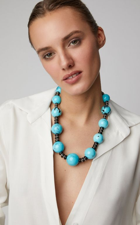 Sabbadini White Gold, Turquoise And Diamond Necklace